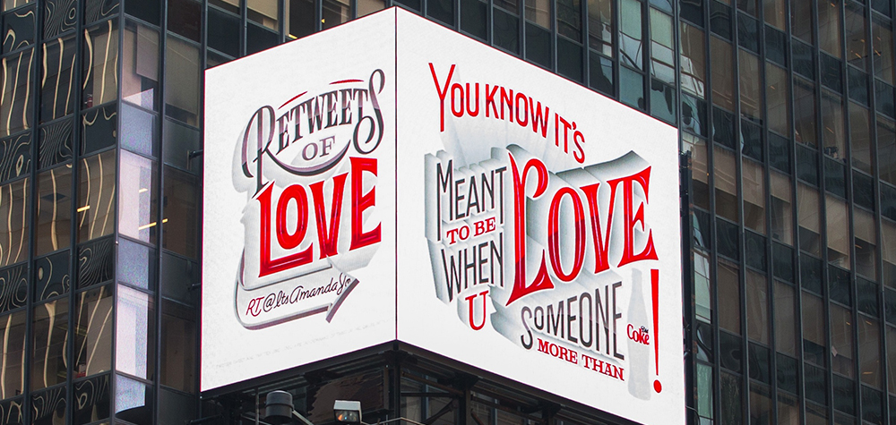 Coca-Cola retweete vos publications d'amour sous forme d'affiches