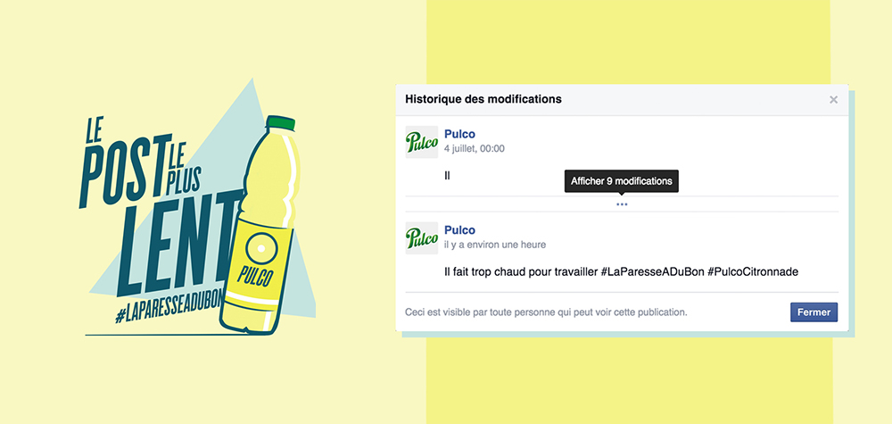 Pulco crée le post le plus lent du monde sur Facebook