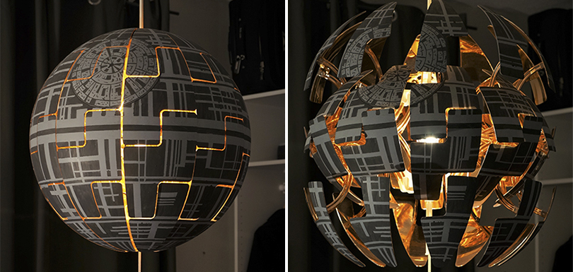 une lampe ikea transform e en toile de la mort de star wars creapills. Black Bedroom Furniture Sets. Home Design Ideas