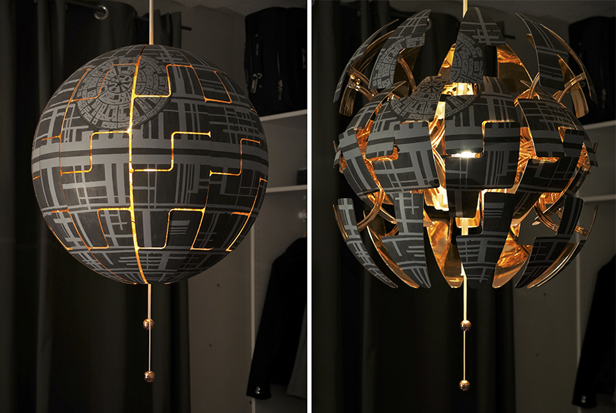 une lampe ikea transform e en toile de la mort de star wars. Black Bedroom Furniture Sets. Home Design Ideas