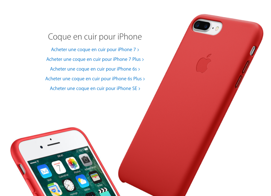 coque iphone 7 plus rouge cuir