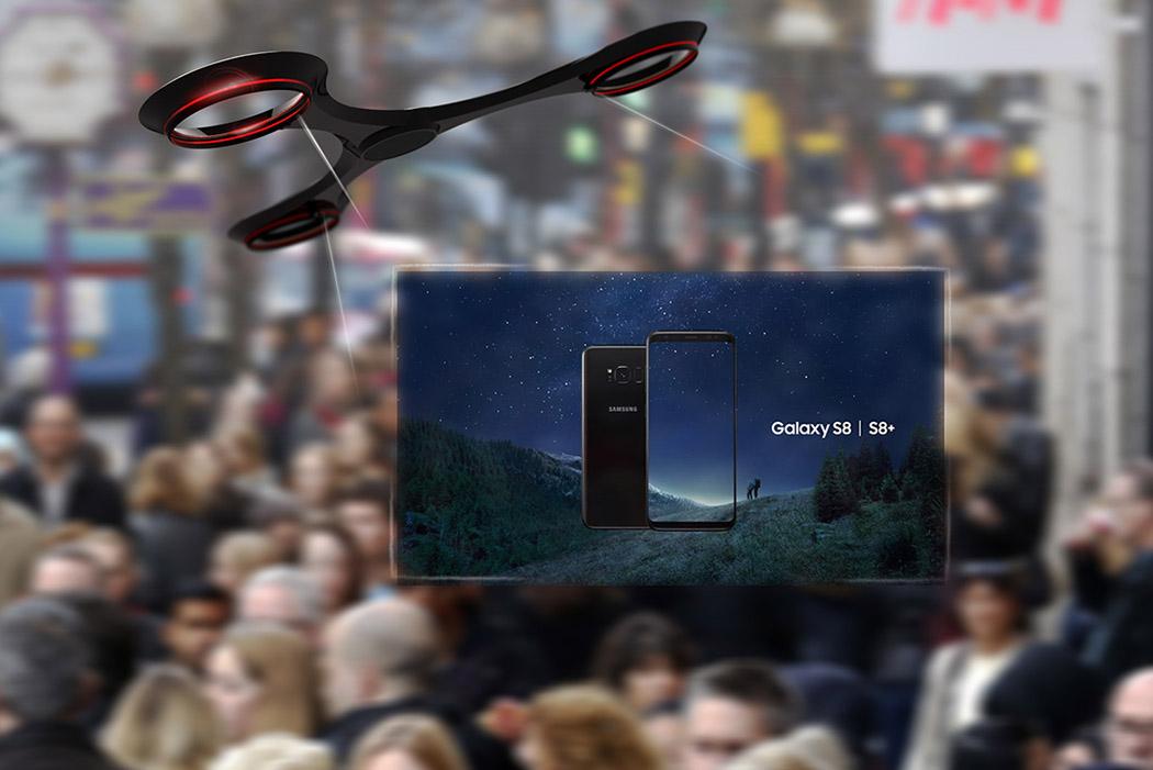 Un concept de drone publicitaire