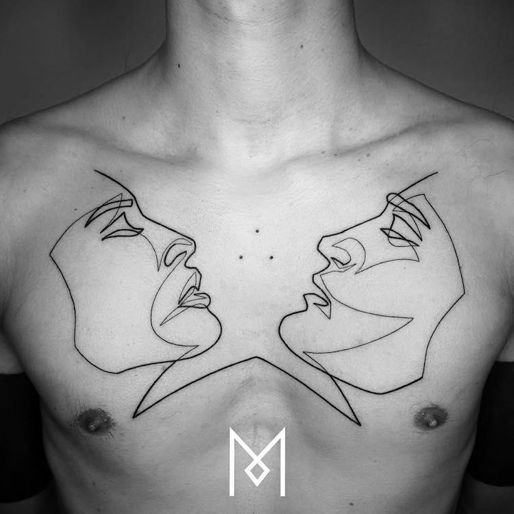 Des tatouages minimalistes réalisés avec une seule ligne