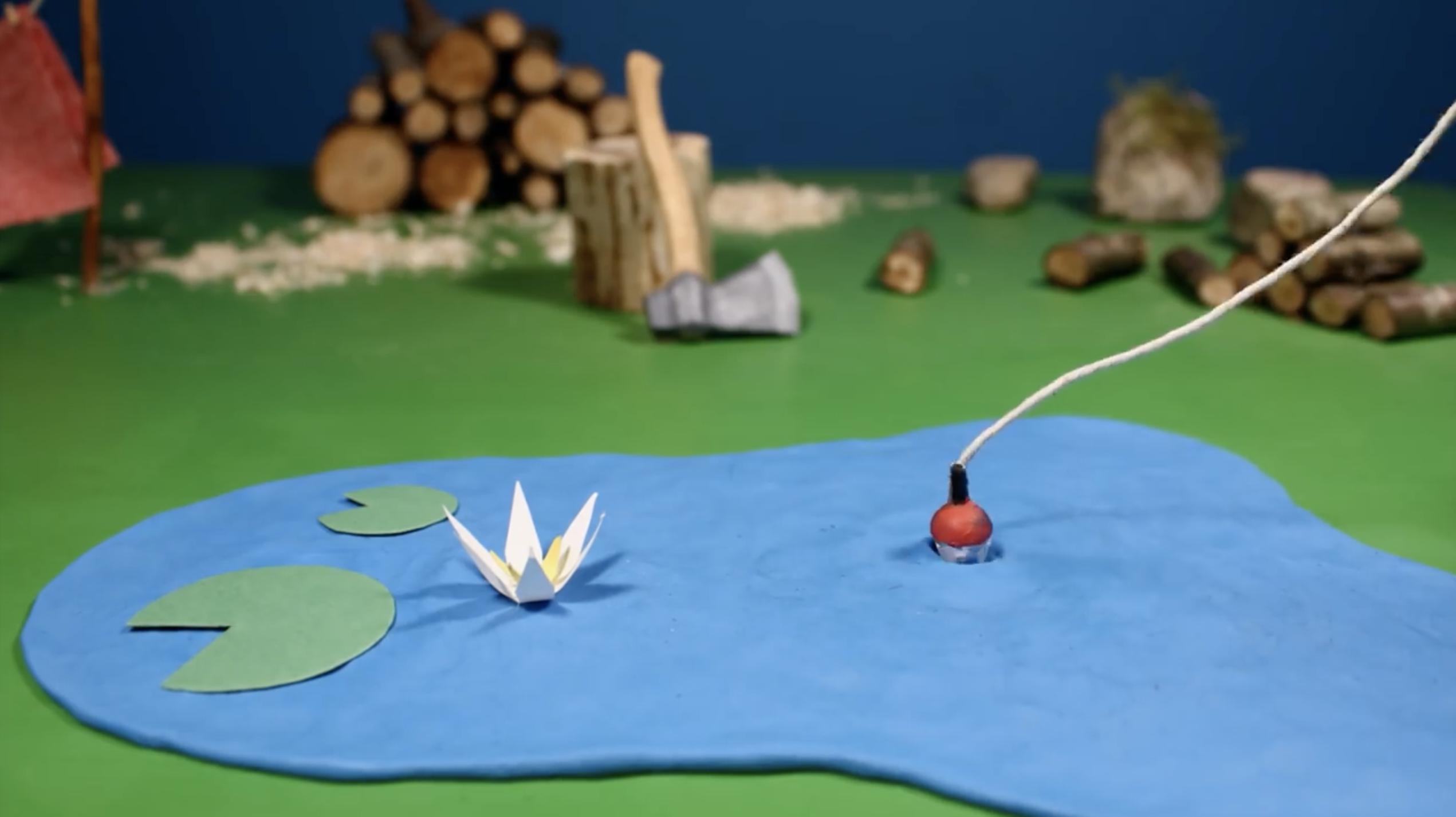 Il crée une partie de pêche en stop-motion sur le bureau de sa chambre