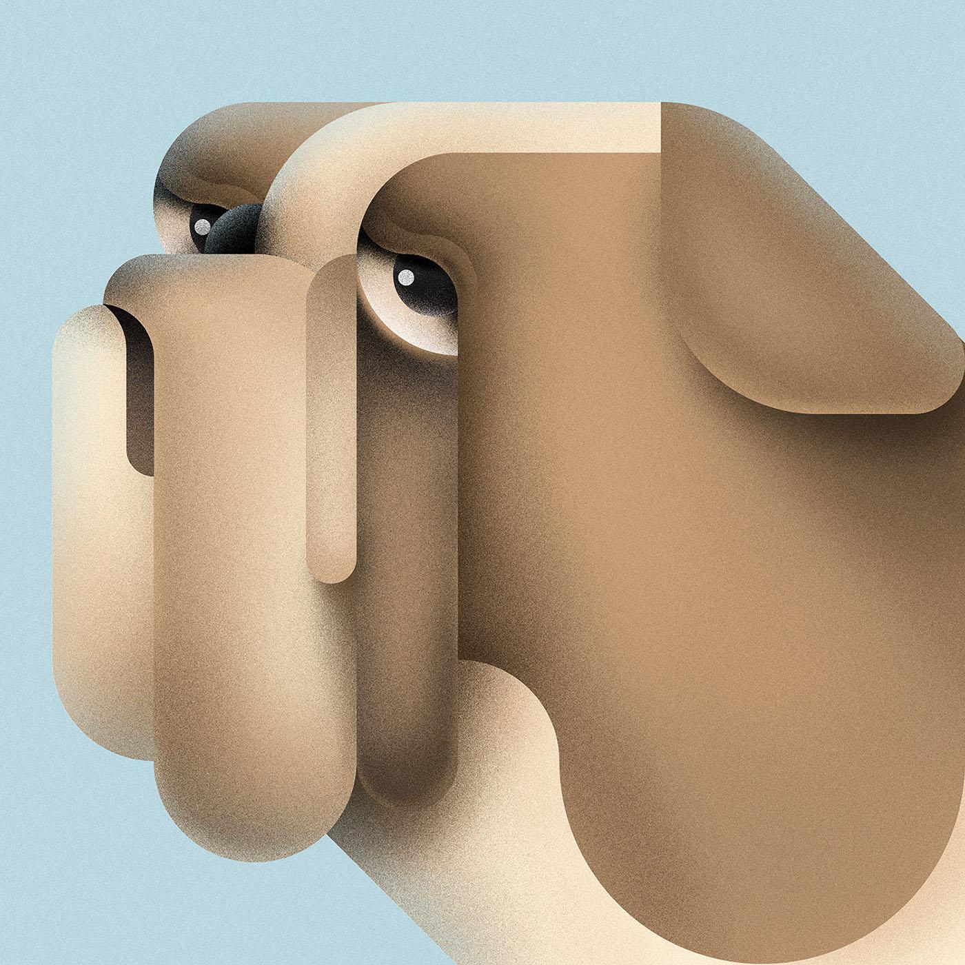 Ces animaux géométriques sont dessinés à base de traits et de cercles