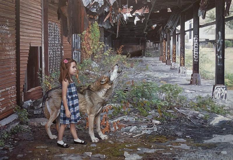 Ces fresques célèbrent la rencontre entre enfants et animaux sauvages