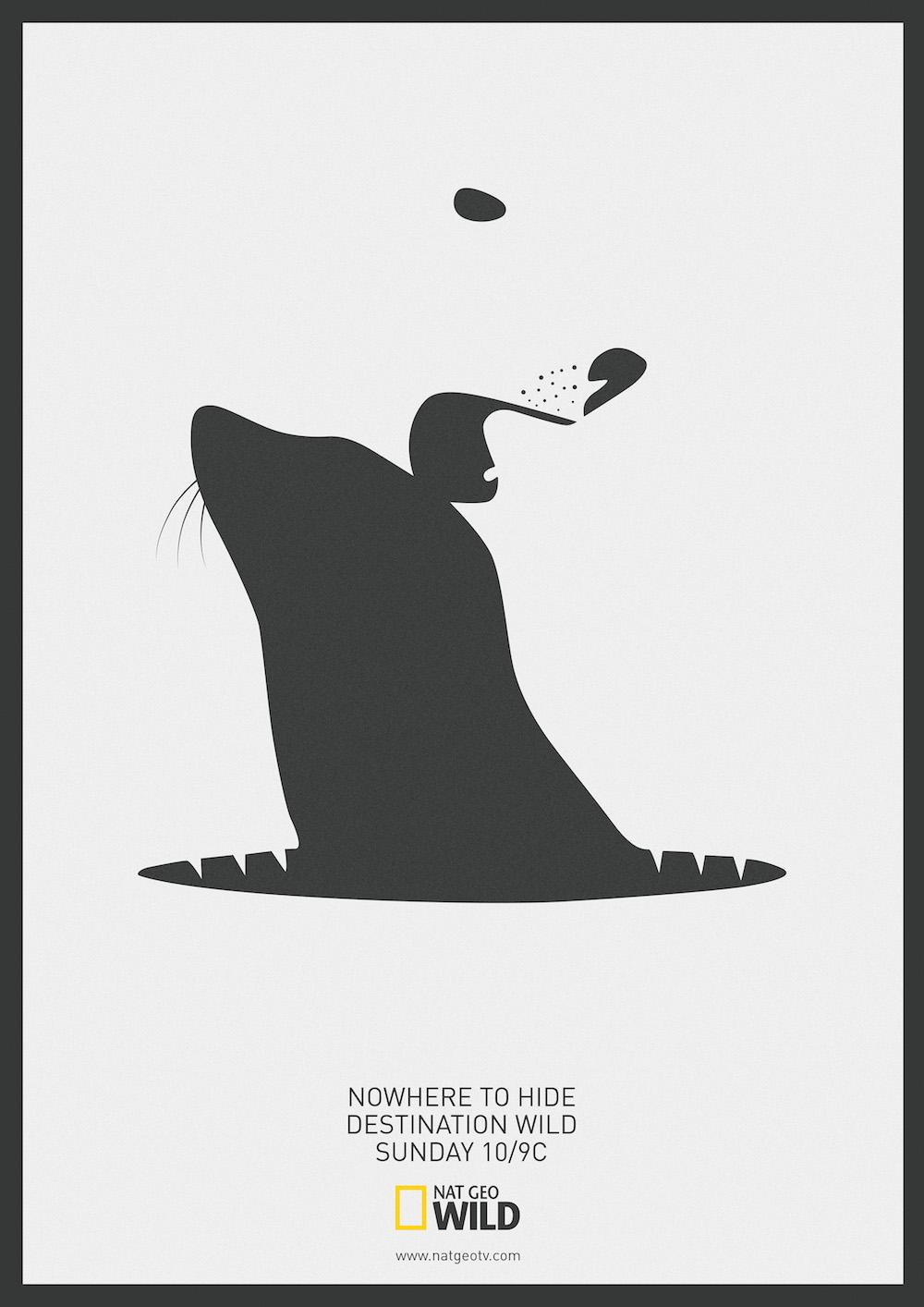 Ces affiches utilisent l'espace négatif pour faire apparaître un prédateur et sa proie