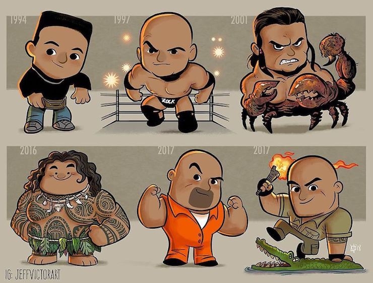 This illustrator represents the evolution of famous characters over the years