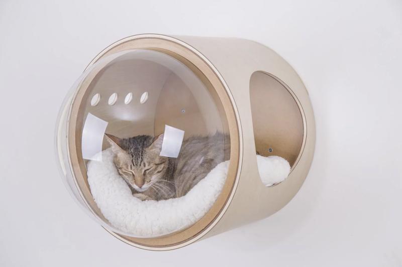 Spaceship : la niche design avec hublot qui transforme votre chat en astronaute