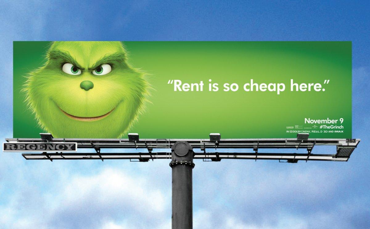 """Une campagne d'affichage géniale et grincheuse hacke le quotidien des américains pour le film """"Le Grinch"""" Par Thomas R.                Campagne-publicitaire-grinch-affichage-8"""