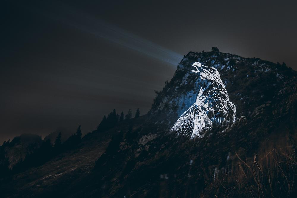 Cet artiste projette des animaux sur des falaises pour sensibiliser à la sauvegarde du monde sauvage ! By Mélanie D.  Julien-nonnon-animaux-lumiere-projection-extinction-11
