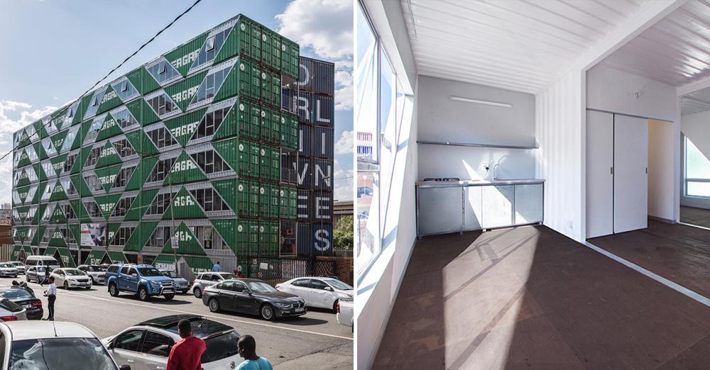 Cet immeuble habitable de 6 étages a été conçu avec 140 containers d'expédition