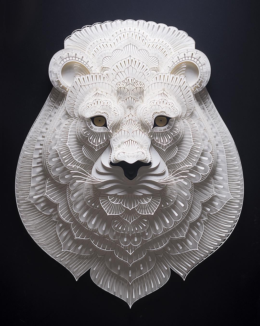 Avec du simple papier, il réalise de superbes portraits d'animaux en voie de disparition Patrick-cabral-papier-portraits-animaux-21
