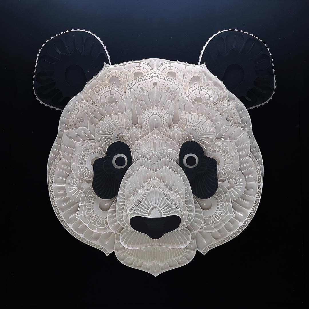 Avec du simple papier, il réalise de superbes portraits d'animaux en voie de disparition Patrick-cabral-papier-portraits-animaux-22