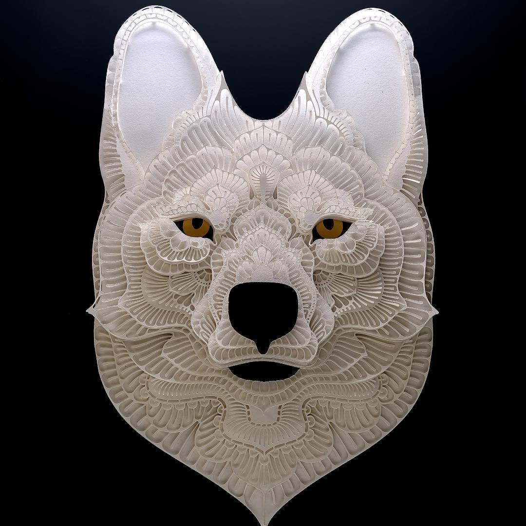 Avec du simple papier, il réalise de superbes portraits d'animaux en voie de disparition Patrick-cabral-papier-portraits-animaux-27