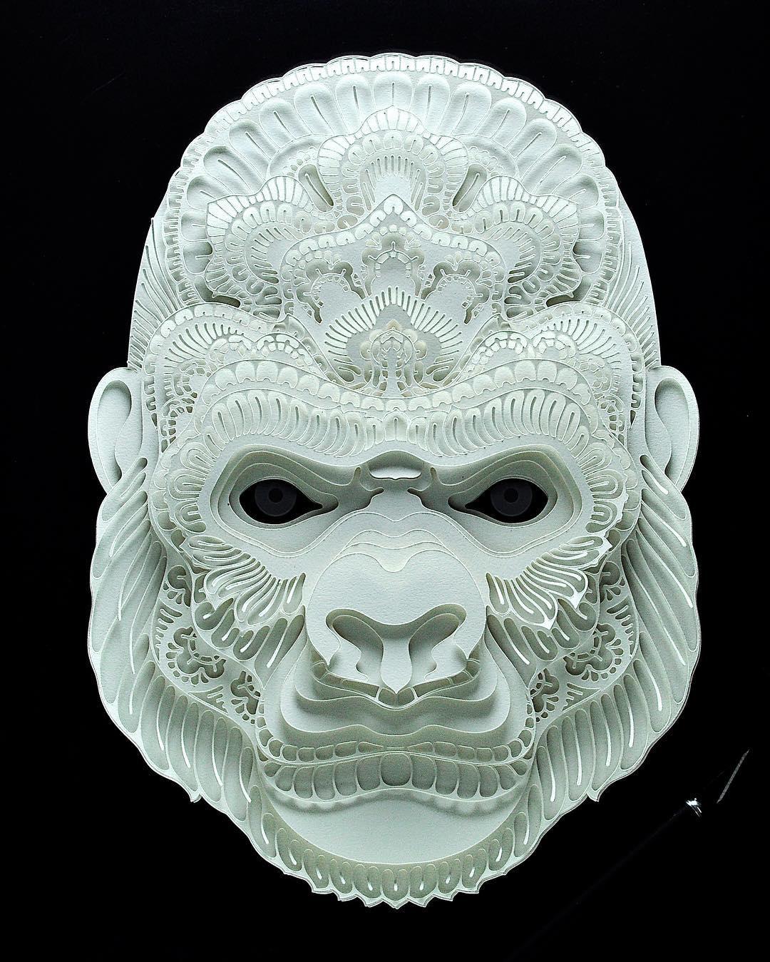 Avec du simple papier, il réalise de superbes portraits d'animaux en voie de disparition Patrick-cabral-papier-portraits-animaux-29