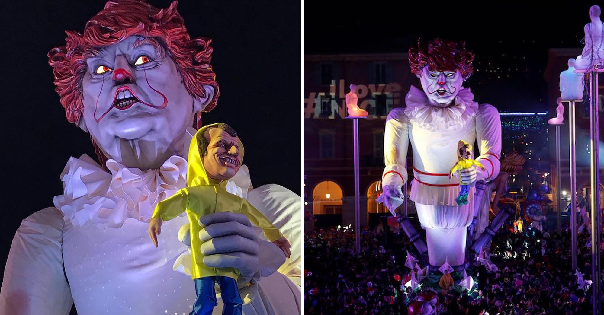 """Pour le Carnaval de Nice, ils parodient le film """"Ça"""" en créant un Trump géant qui empoigne Macron"""