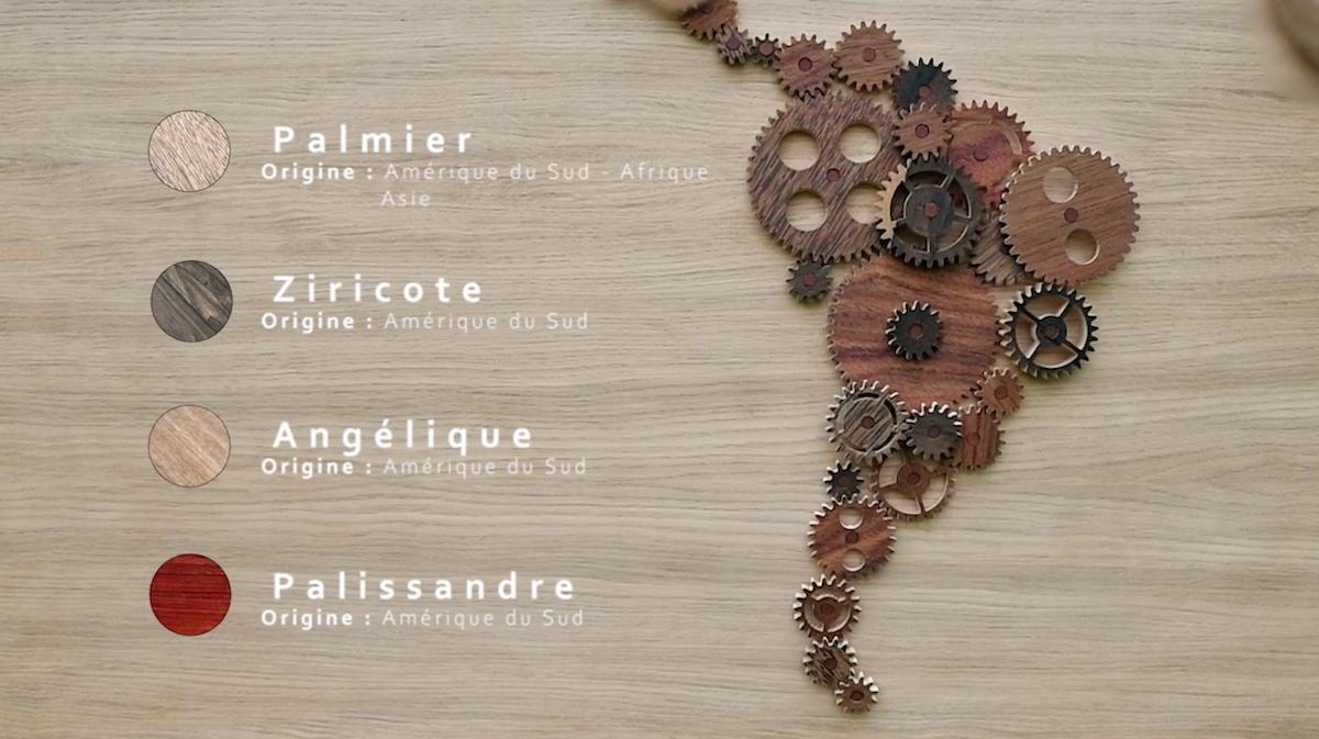 Carte du monde engrenages bois