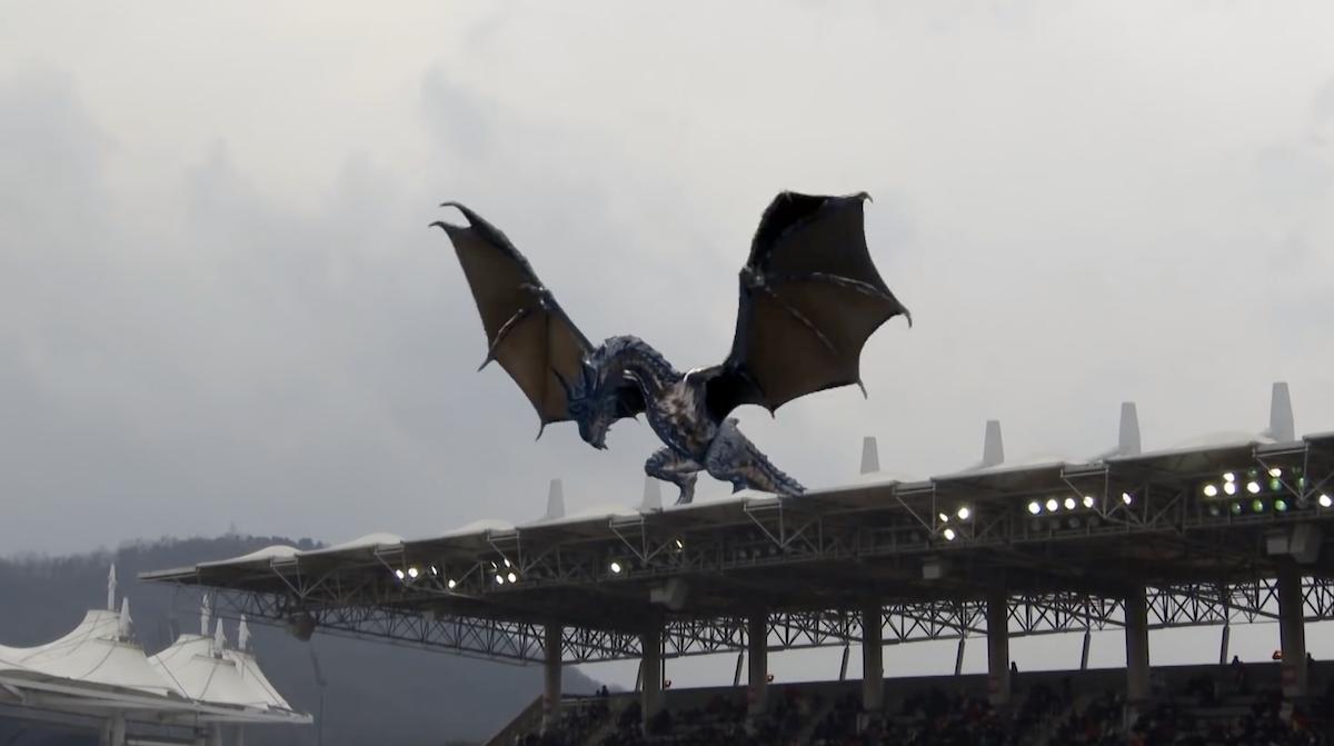 Un dragon en réalité augmentée dans un stade en Corée du Sud