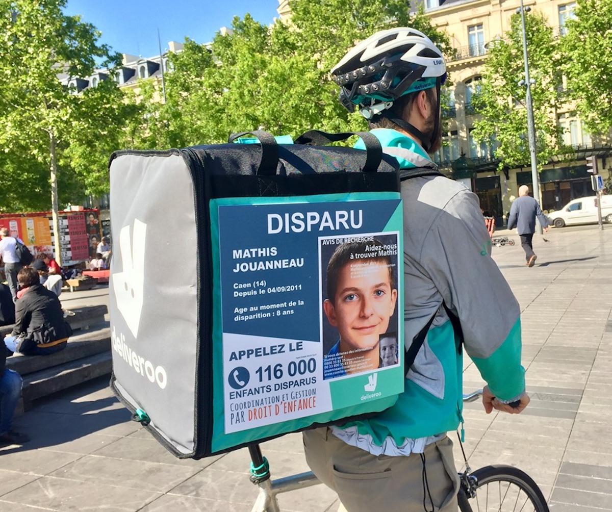 Affiche enfants disparus Deliveroo et Droit d'enfance