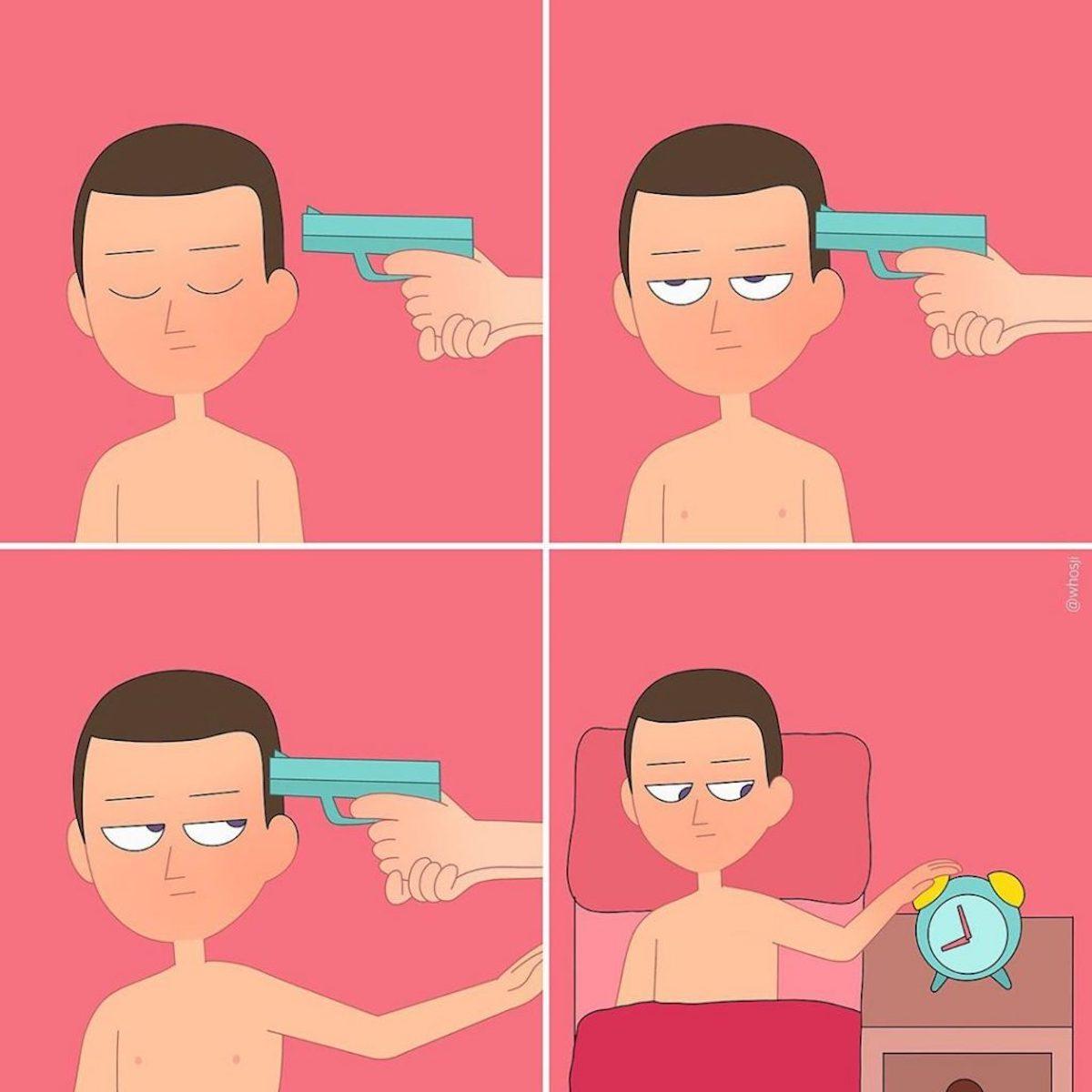 Whosji illustrations humour noir