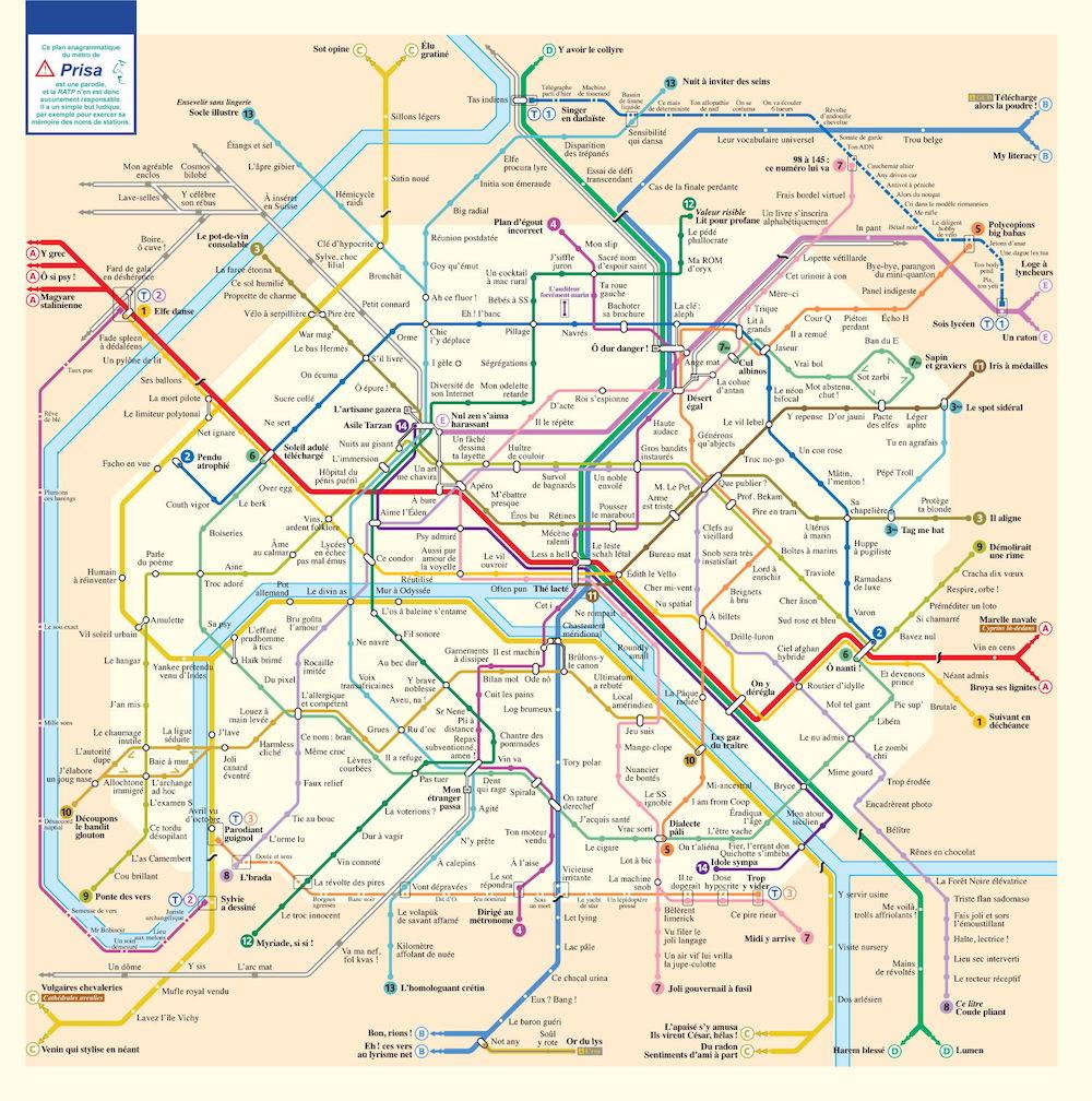 Carte du Métro de Paris Stations Anagrammes