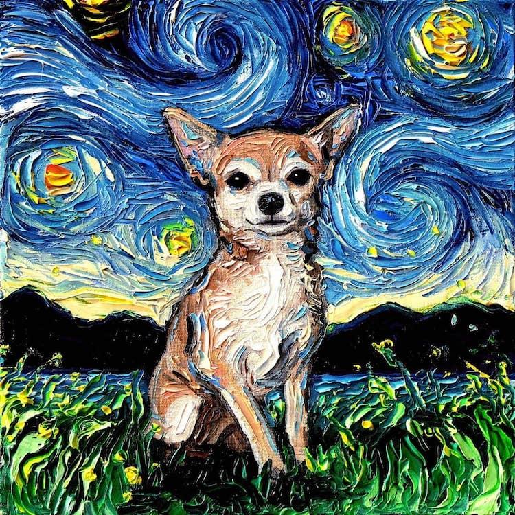 """Résultat de recherche d'images pour """"la nuit étoilée de van gogh avec des chiens"""""""