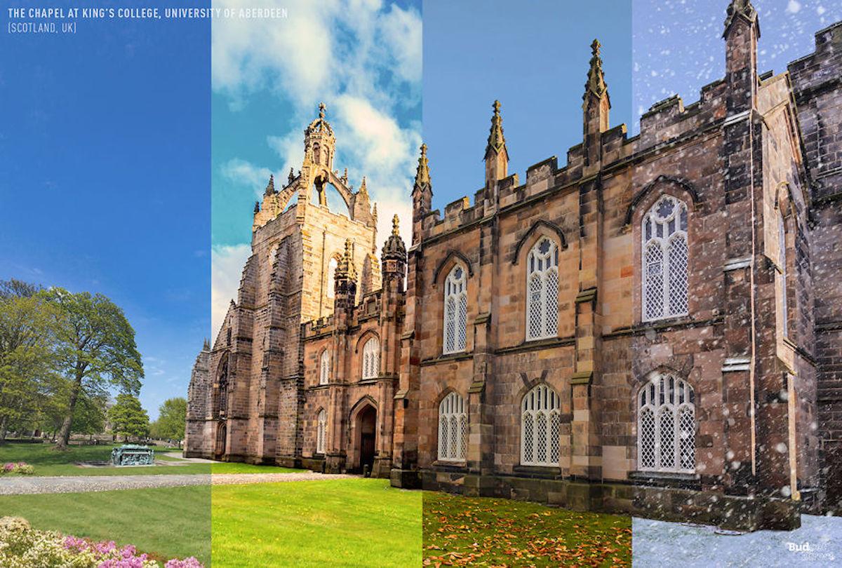 1 lieu 4 saisons La chapelle du King's College, université d'Aberdeen BudgetDirect