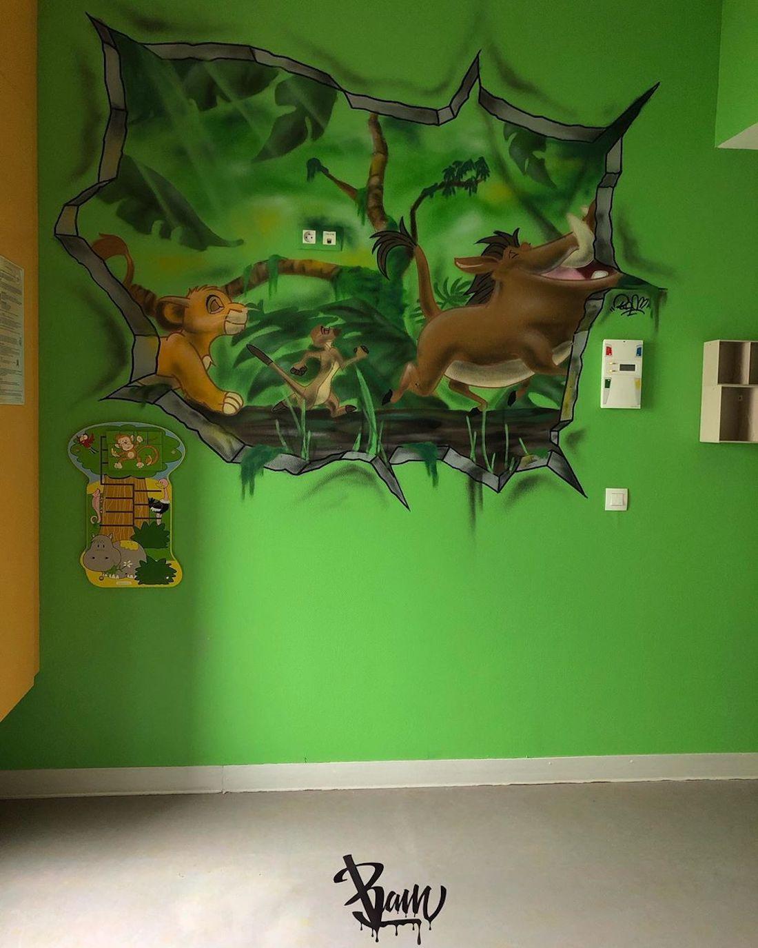 Bam Graffeur Murs Fresques Valenciennes Hôpital Enfants