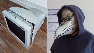 Un masque de médecin de peste fabriqué avec un écran d'ordinateur.