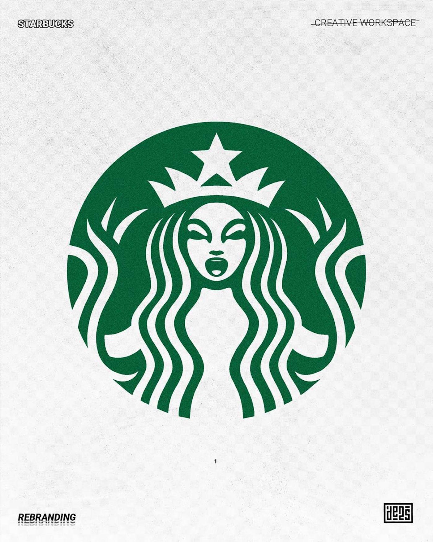 Logo de Starbucks rebrandé par de2s
