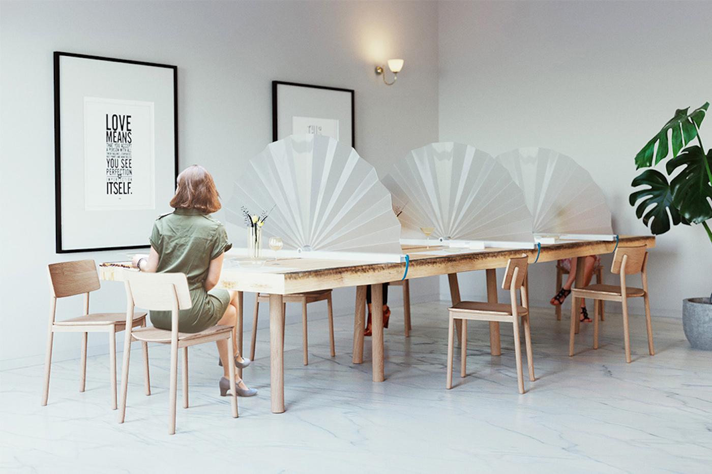 Un éventail portable pour crée facilement la distanciation physique à table