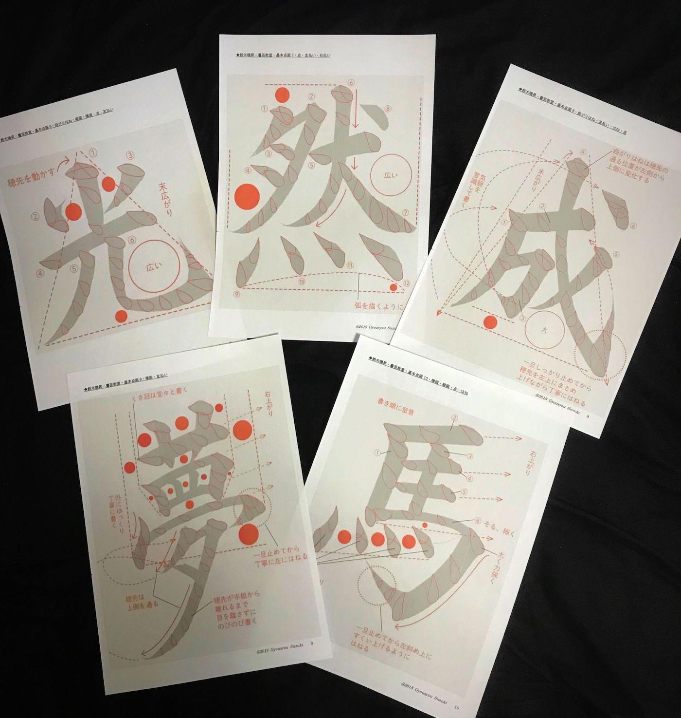 Des posters conçus pour apprendre la calligraphie japonaise