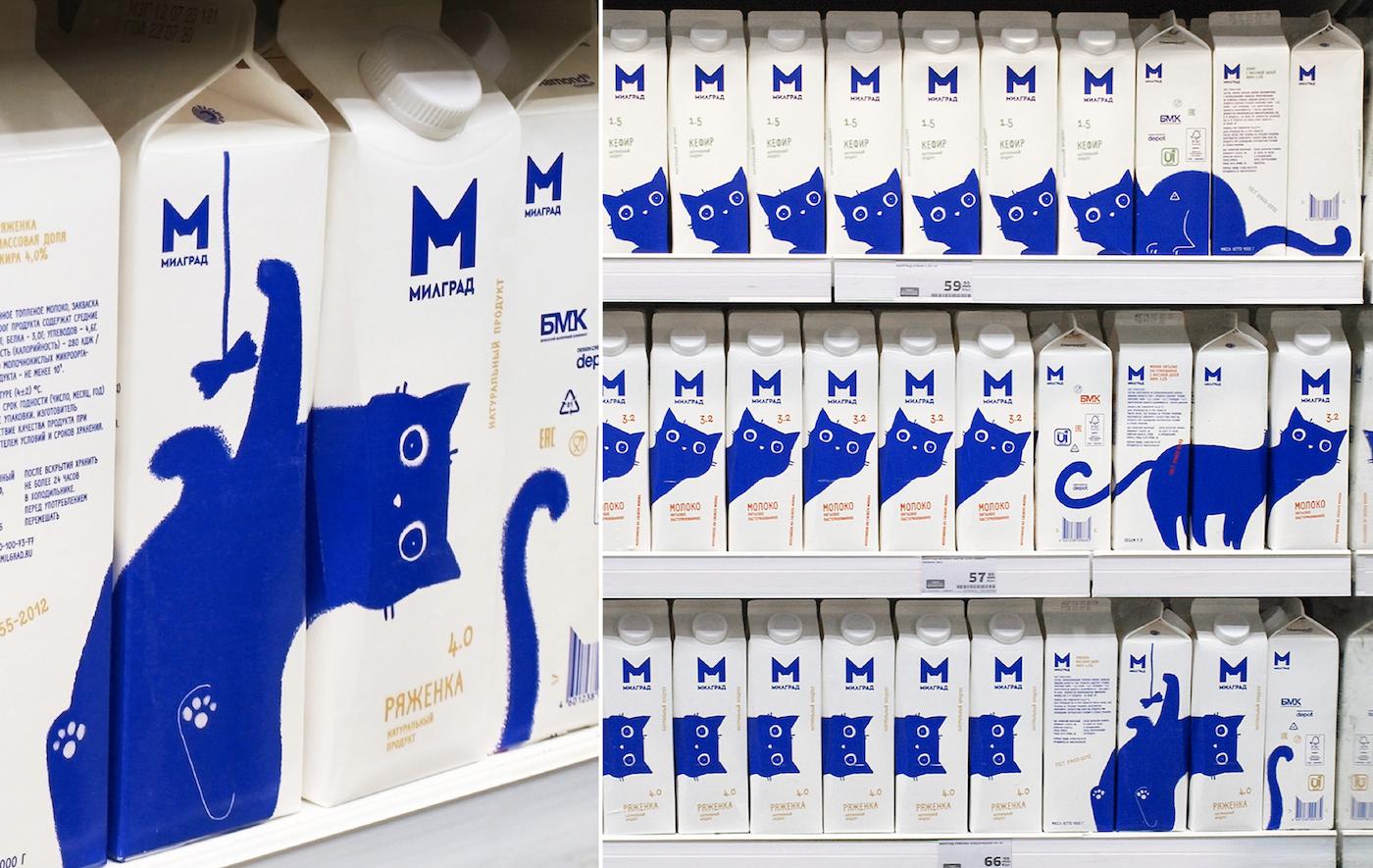 Cette marque de lait joue avec les chats pour créer l'emballage parfait