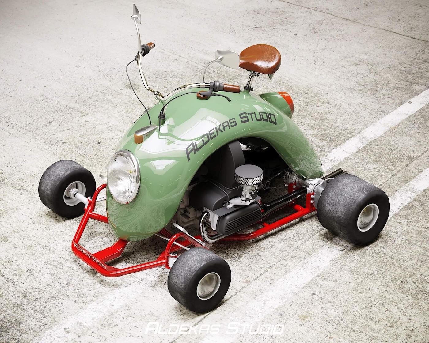 Une Volkswagen Coccinelle d'origine recyclée en kart