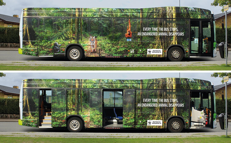 La WWF joue avec un bus pour une sensibilisation choc sur l'extinction des espèces