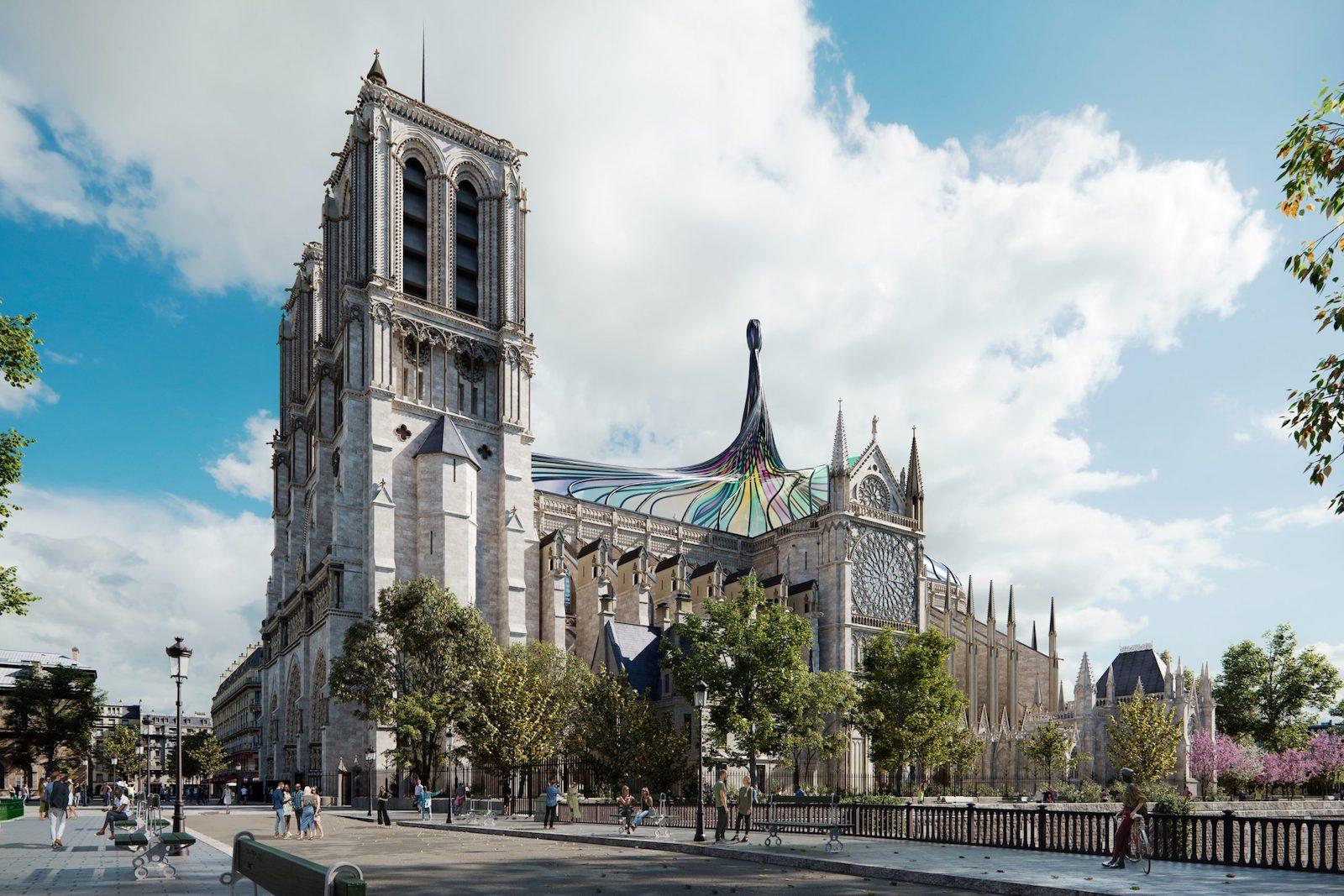 Cet architecte imagine un toit en vitrail qui se tord en flèche pour Notre-Dame de Paris