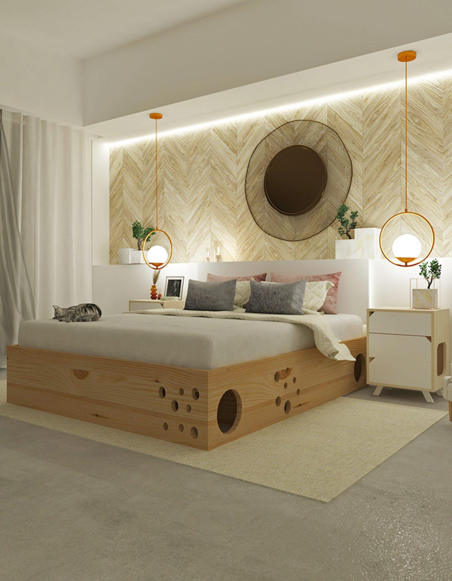 Ce lit cache une structure en labyrinthe pensée pour votre chat