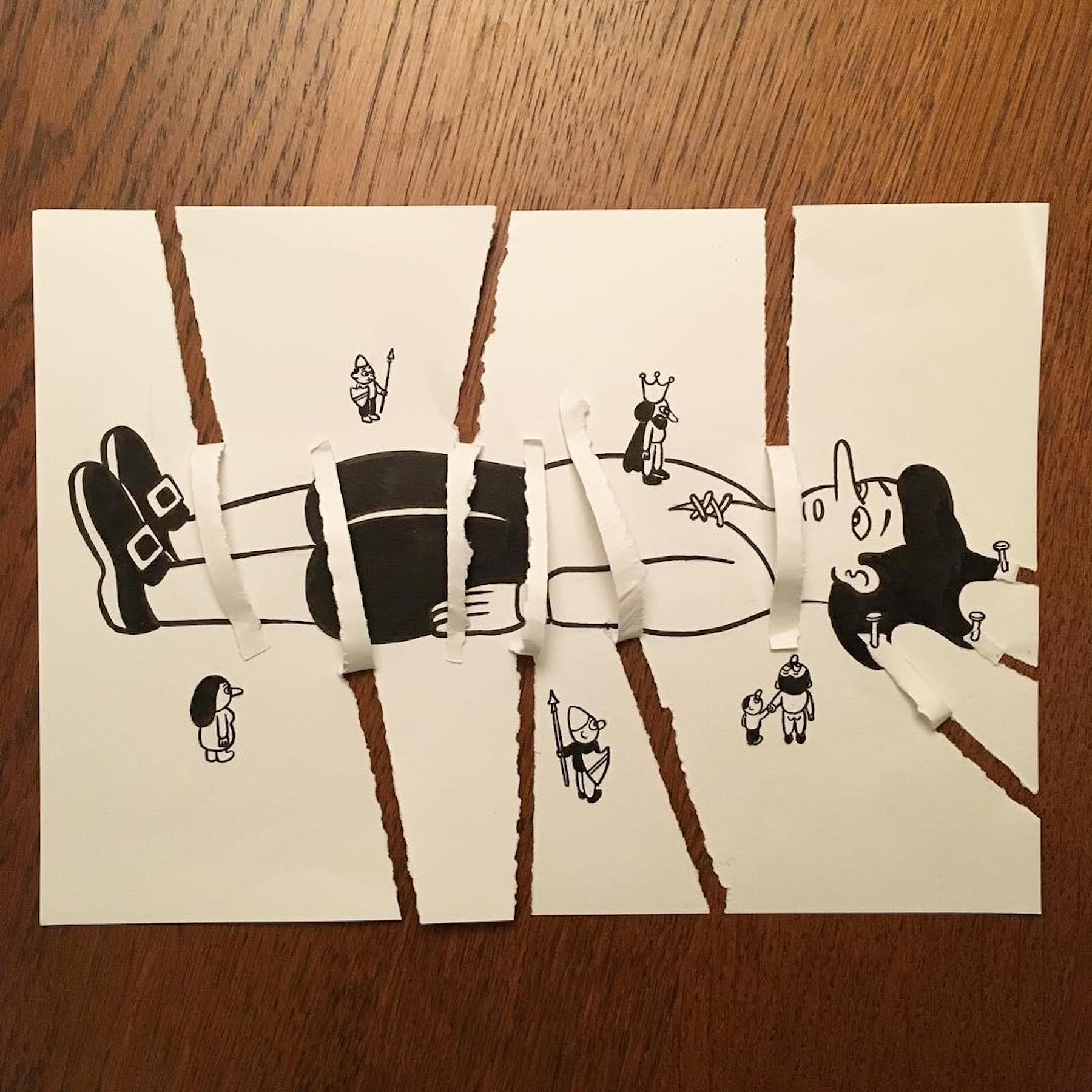 Les mises en scène amusantes de HuskMitNavn créées avec une seule feuille de papier