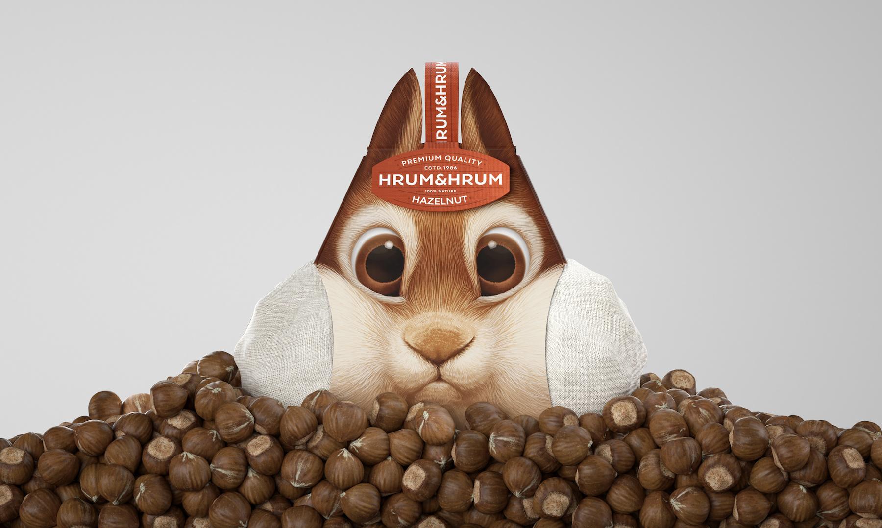 Un adorable packaging en forme d'écureuil pour vendre des noisettes