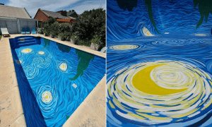 """Une piscine repeinte à la façon de """"La Nuit Étoilée"""" de Van Gogh"""