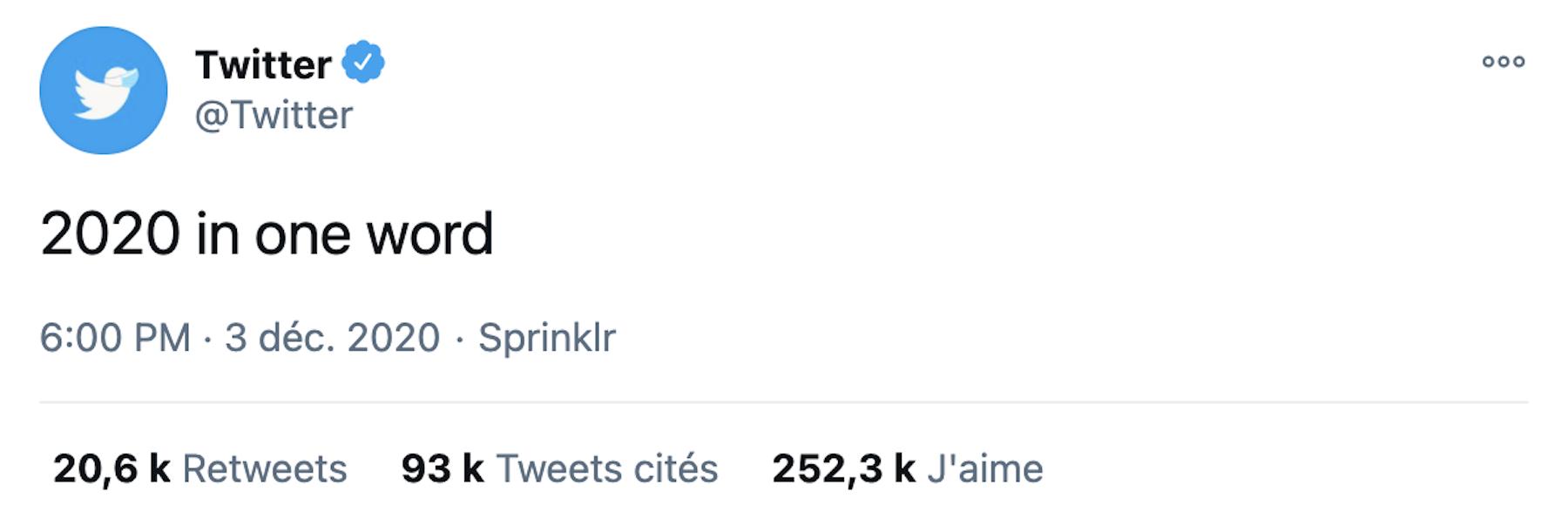 Twitter demande de résumer 2020 en un mot : les marques répondent avec humour
