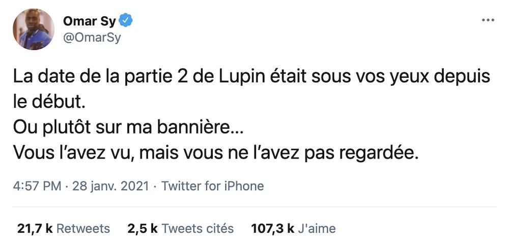 Le coup de génie Netflix pour annoncer la date de la partie 2 de Lupin sur Twitter