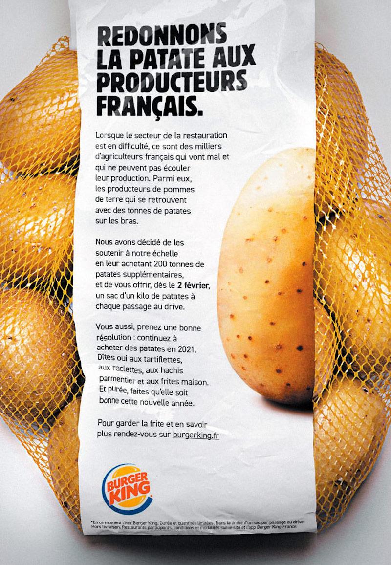 En soutien aux producteurs, Burger King offre 1kg de patate à chacun de ses clients