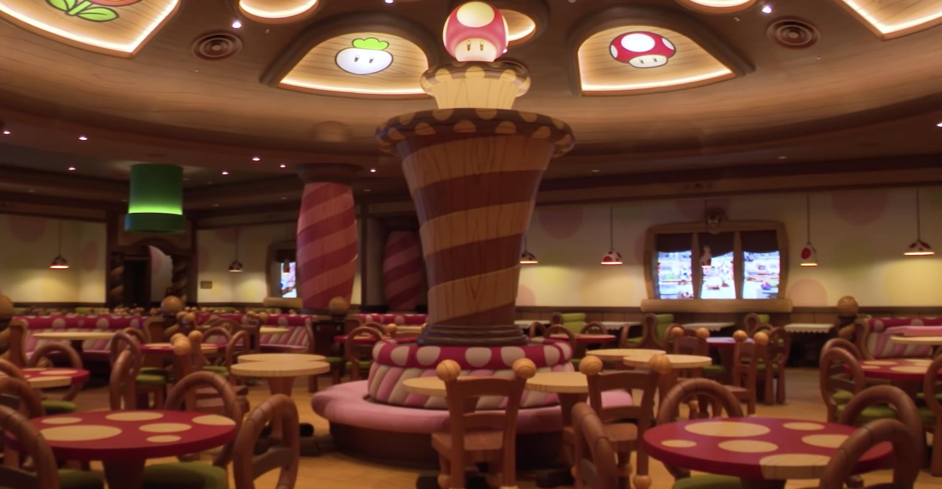 Voici le Kinopio's Cafe qui se trouve dans le Super Nintendo World