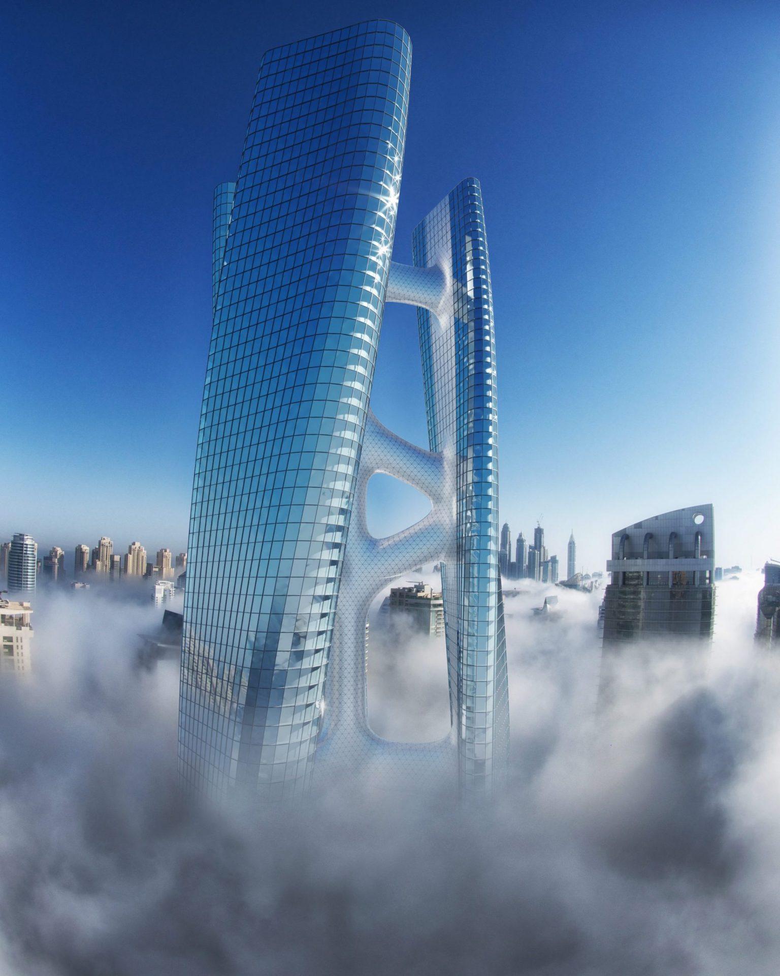 La Squall Tower tourne sur elle-même comme une éolienne pour produire de l'électricité