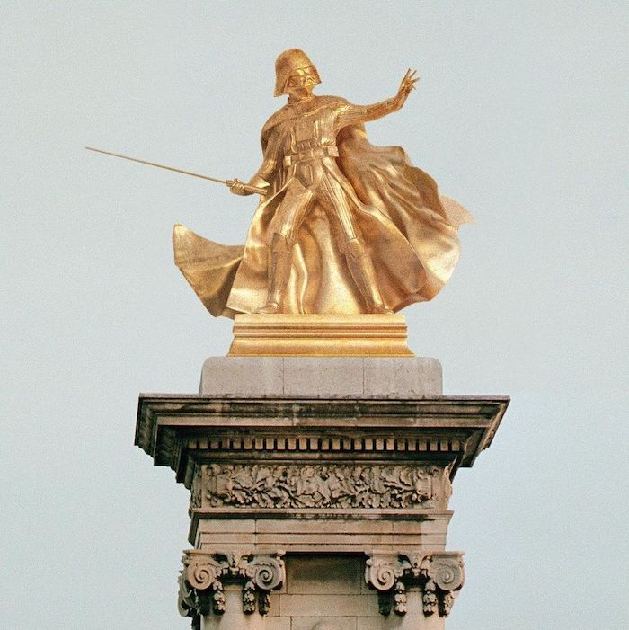 Paris : le photographe Benoit Lapray transforme les statues en personnages célèbres ! Par Maxime Delmas 143040915_420010005997182_3220196159490117282_n