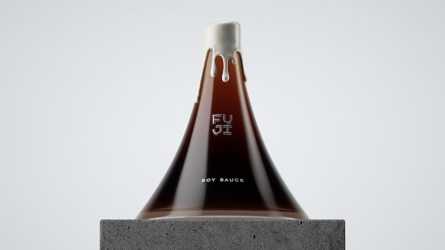 Ce packaging de sauce soja rend un hommage créatif au Mont Fuji