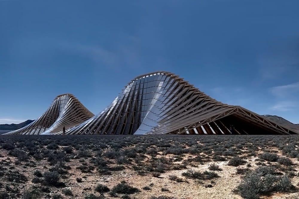 Une montage de panneaux solaires pour fabriquer l'énergie du Burning Man