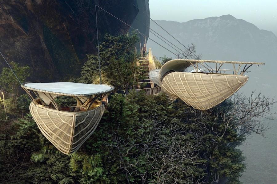 """Un étonnant concept de """"restaurant pélican"""" suspendu à une montagne"""
